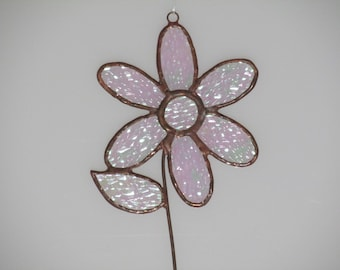 Stained Glass Iridescent Clear Mom's Flower Suncatcher