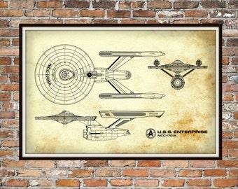 Star Trek Enterprise Blueprint Art of USS Enterprise NCC-1701-A Technical Drawings Engineering Drawings Patent Blue Print Art Item 0222B