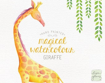 Watercolor giraffe: hand painted giraffe clipart / nursery art / animal clip art / childrens birthday / baby birth announcement / CM0084