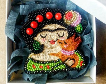 embroidered with beads brooch depicted  cute Frida Kahlo
