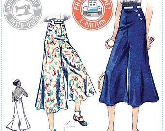 E-Pattern- Chic Ahoy- 30s Slacks ONLY- Size Pack A- Wearing History PDF Sewing Pattern