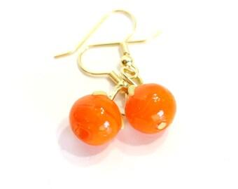 Orange Fruit Glass Bead Earring - Round Orange Beaded Earrings - clip on dangle available