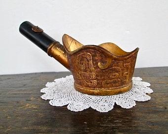 Vintage Asian Heavy Brass Silk Iron