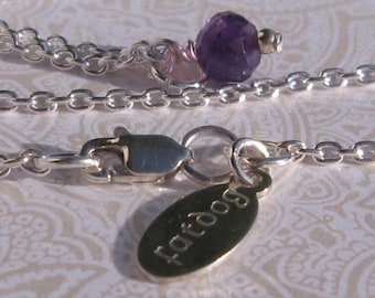fatdog Necklace - NBS2 Birthstone February Amethyst Gemstone