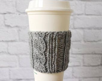 Cabled Coffee Cozy, Knit Coffee Cup Cozy, Cup Cozy, Reusable Coffee Cozy, Knitted Cozy, Knit Coffee Cozy, Stocking Stuffer, Gifts Under 15