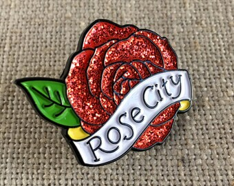 Rose City Glitter Lapel Pin / Portland Oregon Rose City Flair / Modern Enamel Pin / Cool Stocking Stuffer / Glitter Rose / PDX Gift Idea