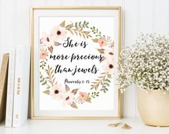 Proverbs 3:15, She Is More Precious Than Jewels, Bible Verse Print, Bible Nursery Art, Scripture Print, Christian Art, Nursery Quote