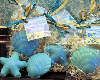 10 Seashell Starfish Soaps Party Favors for Tropical Beach Luau Summer Mermaid Kids Bridal Shower Party Favor