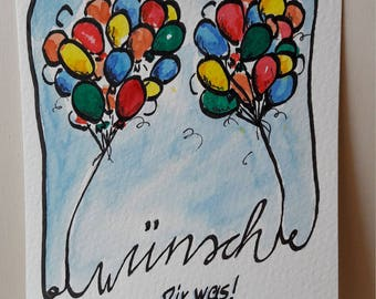 Hand-drawn greeting card make a wish as a download