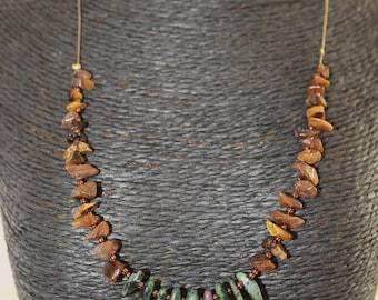 Tiger Oiel + Chrysoprase gemstone necklace
