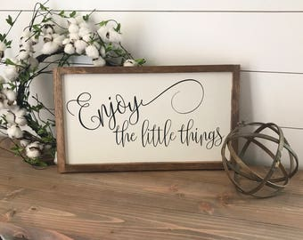 """MORE COLORS & SIZES 20x12 """"Enjoy the little things"""" / hand painted / wood sign / farmhouse style / rustic"""
