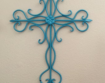 Decorative Cross -Gallery Wall - Metal Wall Cross - Cross Decor  - Wall Decor - Turquoise -Metal Wall Decor- Inspirational