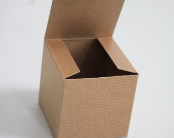 12- 5x5x5 inch Kraft Gift Boxes -Kraft Solid surface or Pinstripe  || Rustic Wedding Boxes, Coffee Mug Box,  Party Favor Box, Candy Box