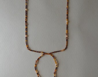 brown and orange necklace - Made in FRANCE