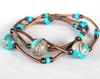 fathers Day Gift Turquoise Bracelet Sea Sediment Jasper Stone Bracelet Thin Bracelet Stackable Bracelet Layered Bracelet Boho Copper Tube
