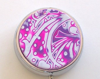 Pink, Purple, & White Floral Pattern Pill Box by Carol Wilson of PollyClayDesigns