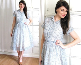 40s Dress / Sheer Paisley 1940s Dress
