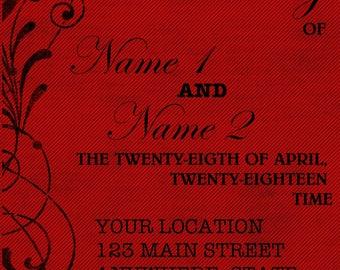 Red and Black Wedding Invitation