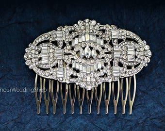 Sale - Bridal Hair Comb Silver  Wedding Hair Comb Art Deco Bridal Hairpiece Gatsby Wedding   Bridal Headpiece Bridal Hair Accessories