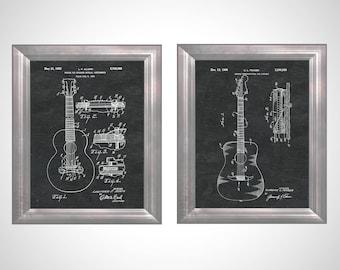 Stringed Musical Instrument Patent Fender Guitar Artwork Gibson Guitar Art Studio Musician Gift Guitar Player Gift 4 Husband Set of 2 PP5200