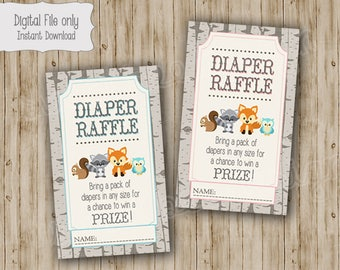 Woodland Baby Shower Diaper Raffle Ticket, Woodland Baby Shower, Woodland Diaper Raffle, Baby Shower Diaper Raffle, instant download