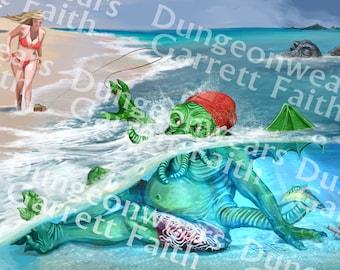 Beach Cthulhu Art Print