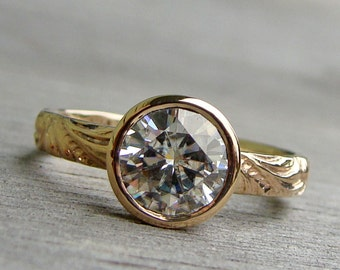 Forever One G-H-I Moissanite and Recycled 14k Yellow Gold Engagement Ring - Scroll Patterned Band - Diamond Alternative - One Carat
