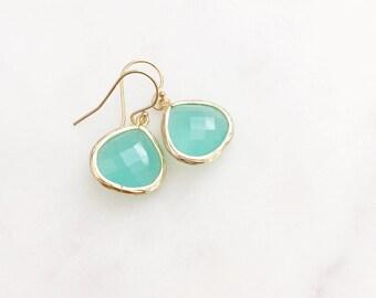 MOLLY   Aqua Dangle Earrings   Aqua Bridesmaid Earrings   Teardrop Earrings   Aqua + Gold Earrings   Aqua Crystal Teardrop Earrings