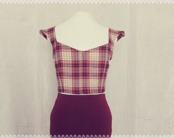 Cabin in the Woods Plaid Crop Top - Soft Maroon Plaid Cropped Top, OOAK Top in Size Small