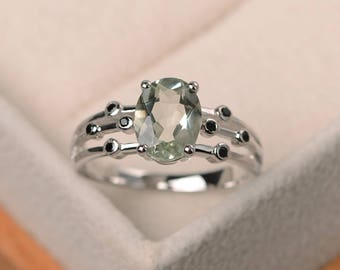 Engagement ring, natural green amethyst ring, oval cut green gemstone, sterling silver ring