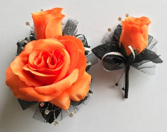 Orange Silk Corsage Set (New Bigger Flowers )