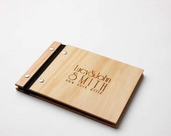 Wedding Guest Book, Wood Anniversary Gift, Wood Wedding Book. Art Deco Style