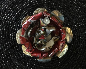 Vintage tin flower brooch