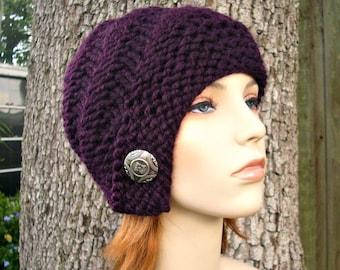 Knit Hat Womens Hat - Hybrid Swirl Cloche Hat in Purple Eggplant Knit Hat - Womens Accessories Winter Hat