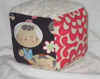 Black Yui Kokeshi and Chenille Fabric Block Rattle Toy - SALE