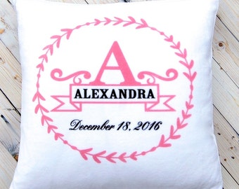Monogram Pillow - New Baby Girl Gift - Nursery Decor - White Plush - 14 x 14 Inches - Personalized Baptism Christening Gift - Pink Bedroom