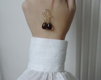 Earrings with smoky quartz smooth briolette earrings with smoke quartz smooth Briolett