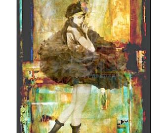 Vintage showgirl goddess, digital print, photomontage, vintage dancer, burlesque, fine art print, vintage ballerina, home decor, wall art