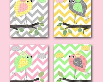 Baby Shower Gift Bird Decor Bird Nursery Baby Girl Nursery Decor Baby Nursery Prints Children Art Print set of 4 Rose Yellow Green Gray