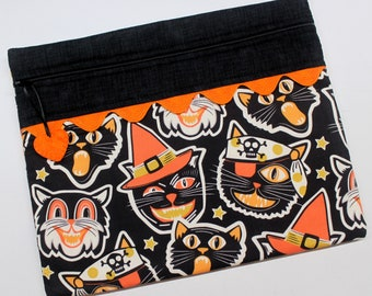 Vintage Frightful Cats Cross Stitch Embroidery Project Bag
