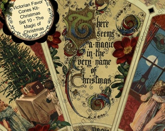 Digital Printable Christmas Victorian Favor Cone Kit Set 10 - There's Magic Instant Download