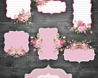 Valentines Shabby Chic Labels Digital Clipart - Vintage floral  pattern journaling labels frames transparent background png clipar