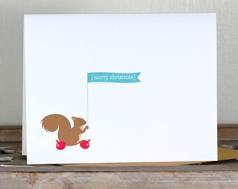 Christmas Cards . Holiday Card Set . Personalized Christmas Cards - Decorating Squirrel