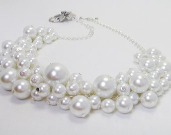 Pearl Necklace, White Pearl Necklace, Pearl Cluster Necklace, White Chunky Necklace, Pearl Cluster Necklace, White Pearl Necklace, FREE SHIP