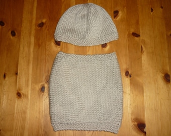 Set of snood and hat for baby 12 months