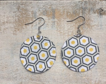 Geometric fabric - surgical steel earrings