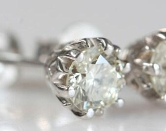 Diamond stud Earrings-White Gold Earrings-Man 2 carat diamond -Anniversary present-For him-Gift for her-Cluster earrings-2 carat diamonds