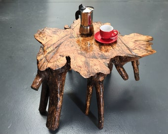 Coffee Table made from one piece of Camphor Laurel Tree, with roots and trunk