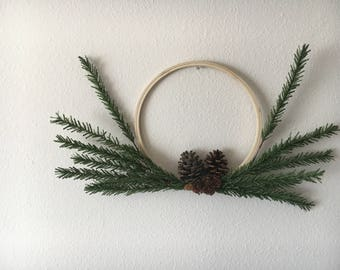 "Minimalist 10"" Modern Hoop Wreath- Wedding Decor- The Dakota"