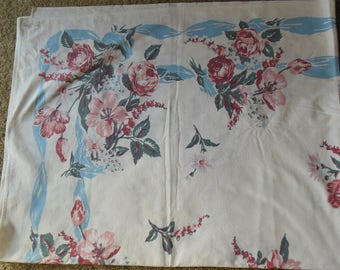 Lovely Floral Pastel Print Tablecloth, 1950s Tablecloth